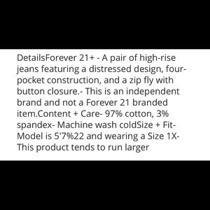 Forever 21 Jeans - Forever 21+ distressed high rise skinny jeans